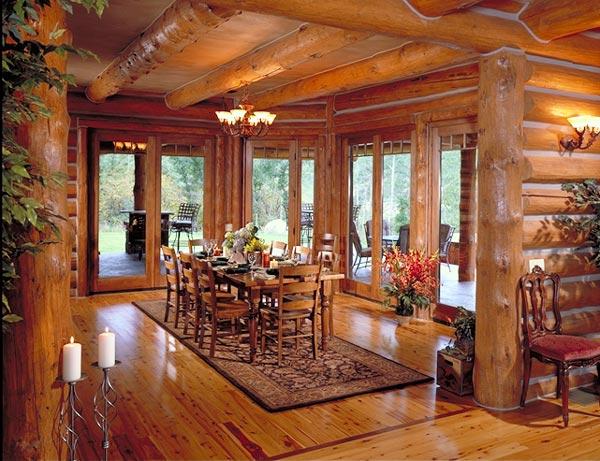 Дневна в дървена къща