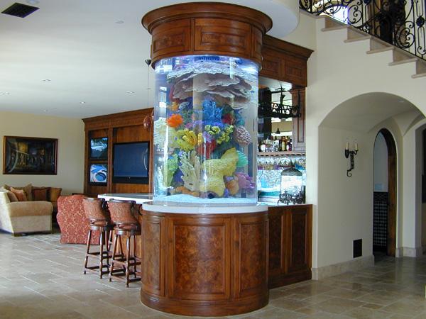 Цилиндричен красив аквариум
