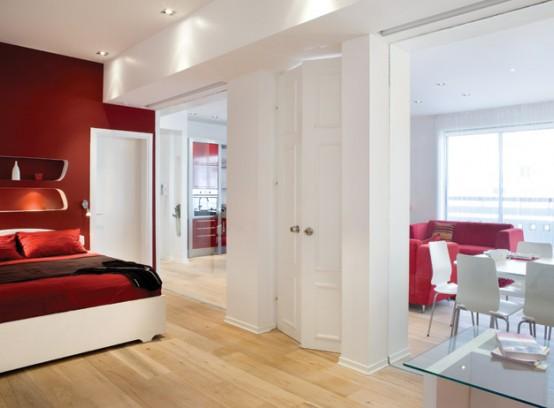 Спалня в бордо и бяло