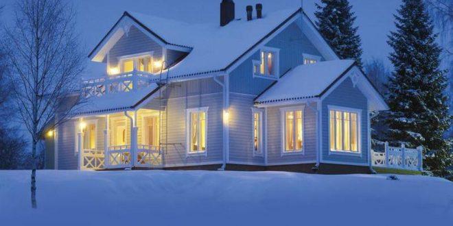 Сглобяема къща през зимата