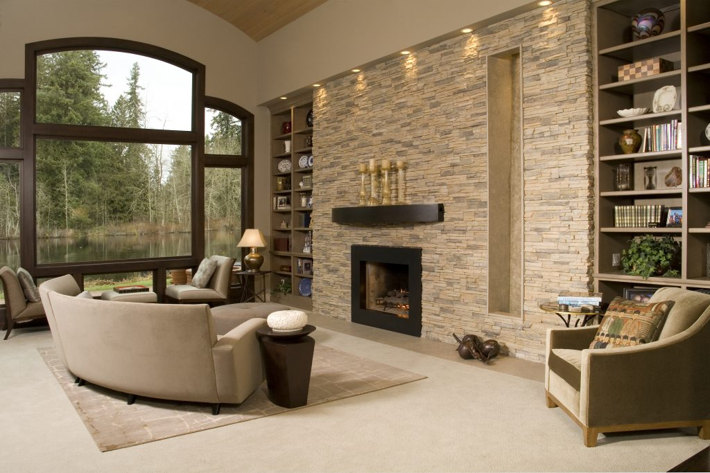 Beautiful Living room with stone fireplace