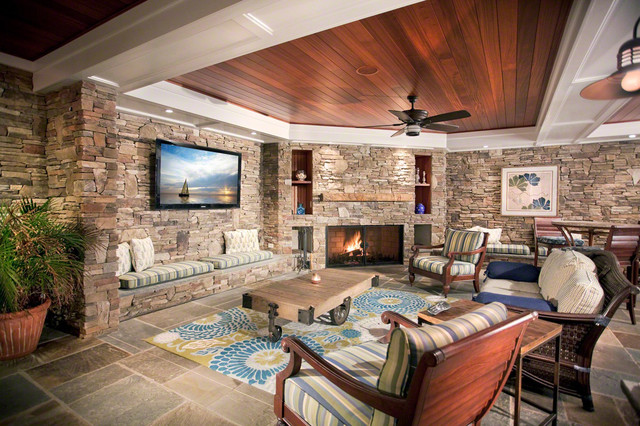 Family room with stone